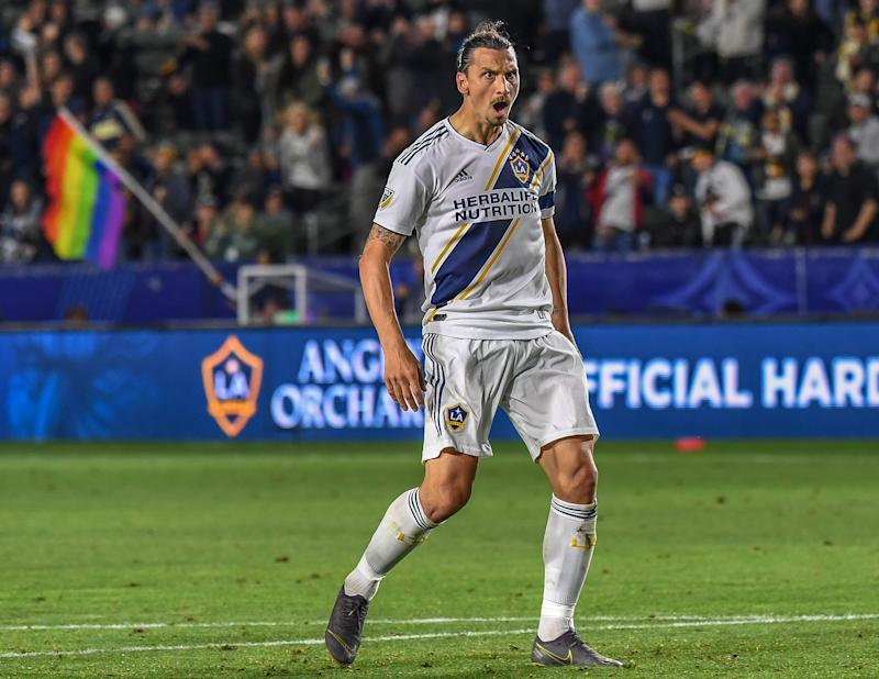 Zlatan Ibrahimovic celebrates for LA Galaxy (Photo by Shaun Clark/Getty Images)