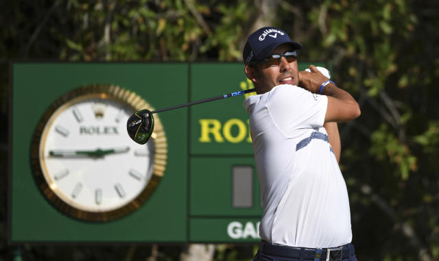Pablo Larrazabal of Spain, tees off at the 10th hole in round one of the Abu Dhabi Championship golf tournament in Abu Dhabi, United Arab Emirates, Wednesday, January 16, 2019. (AP/Martin Dokoupil)