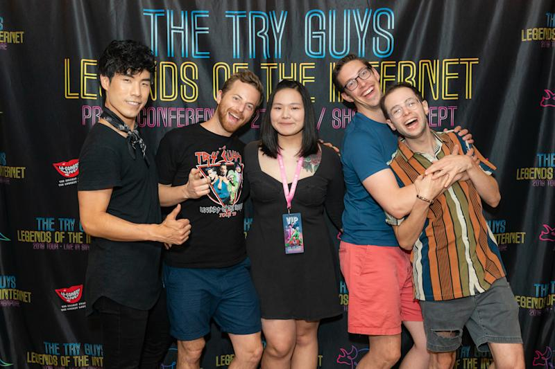 The Try Guys (from left: Eugene, Ned, Keith and Zach) with a female fan. (Photo: LAMC)