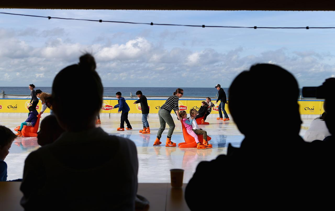 SYDNEY, AUSTRALIA - JULY 10:  A general view of the Bondi Beach Ice Rink on July 10, 2012 in Sydney, Australia. One of the most popular attractions of the annual winter festival, the beach ice rink opened to the public last week complete with ice skate rentals, gourmet food and apres-ski drink options.  (Photo by Ryan Pierse/Getty Images)