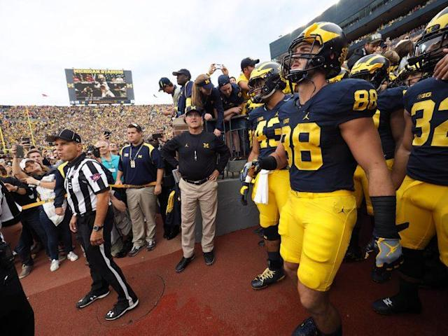 Any coach of the year discussion has to involve Michigan coach Jim Harbaugh. (Getty)