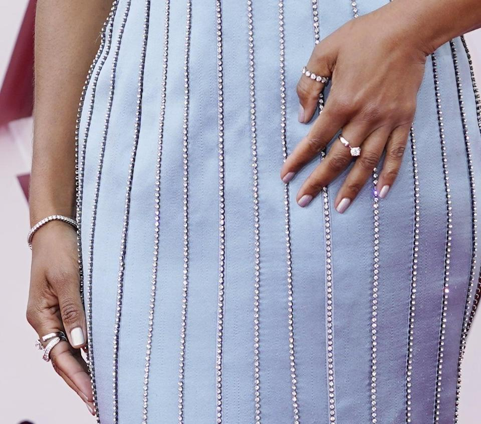 <p>Regina King's metallic blue Louis Vuitton column gown was the star of the show at the 2021 Oscars, but her manicure complemented it. This cool-toned shade of silver was the perfect choice for the occasion and reignited our love for metallic silver.</p>