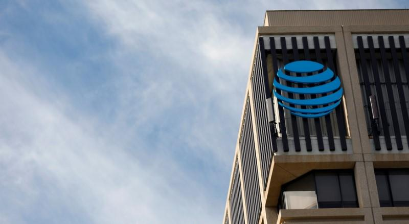 An AT&T logo is pictured in Pasadena