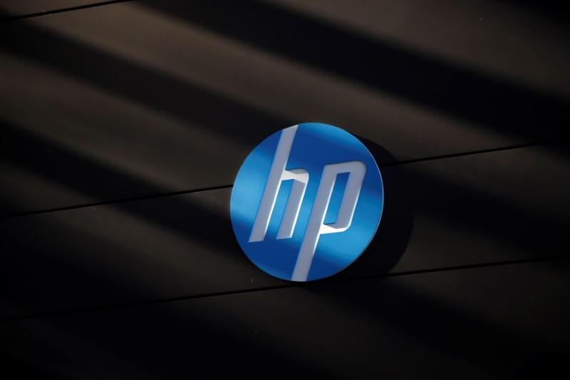 FILE PHOTO - A Hewlett-Packard logo is seen at the company's Executive Briefing Center in Palo Alto