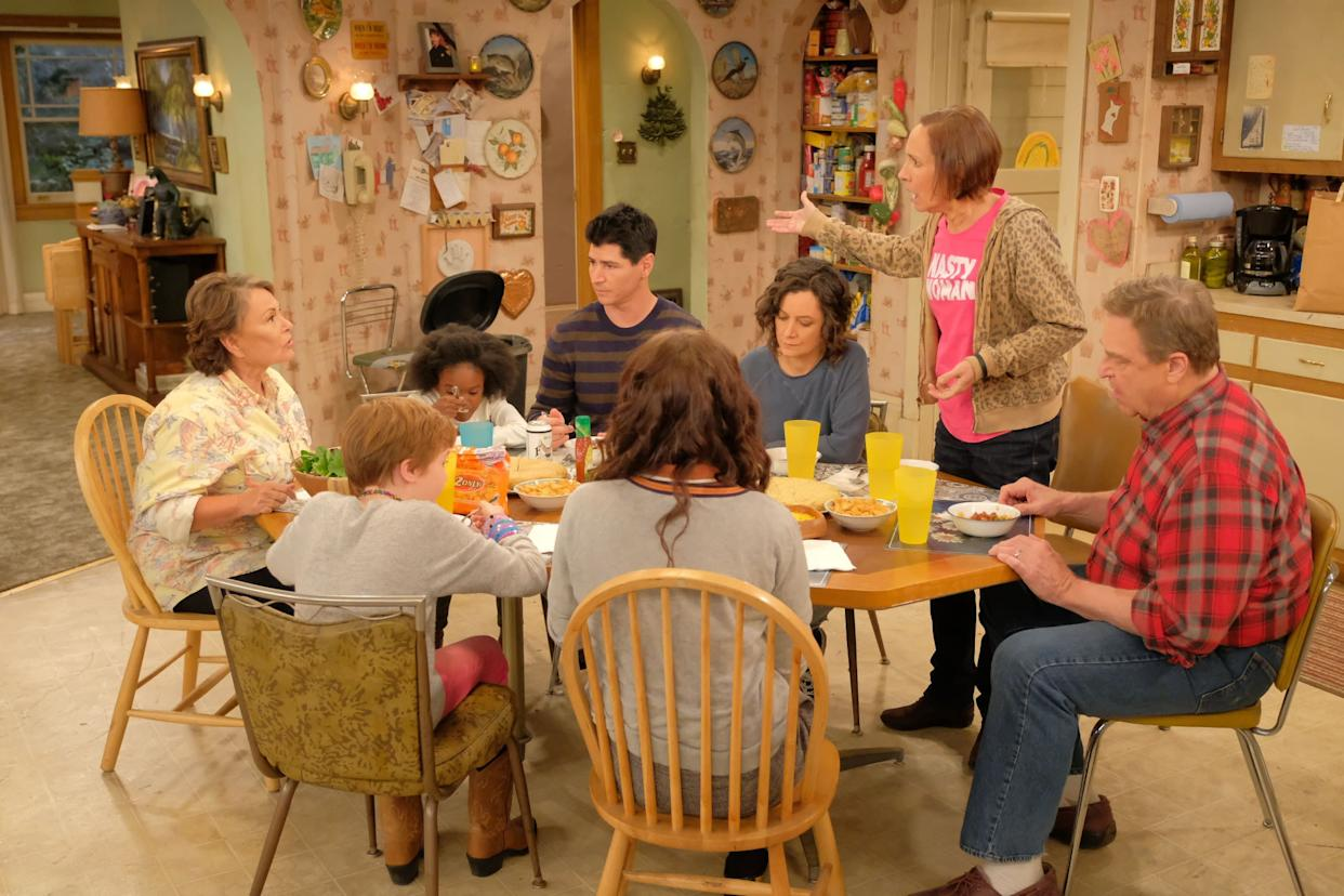 """Roseanne's sister, Jackie (Laurie Metcalf), shows up in a """"Nasty Woman"""" shirt on the """"Roseanne"""" Season 10 premiere. (Photo: ABC)"""