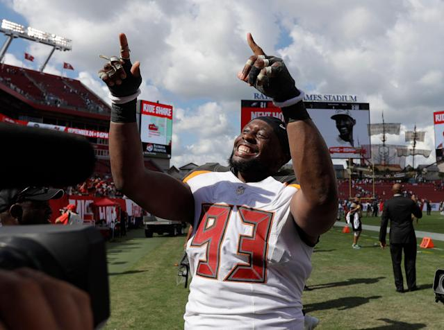 Defensive tackle Gerald McCoy (93) was reportedly informed by the Buccaneers he will be released. (AP)