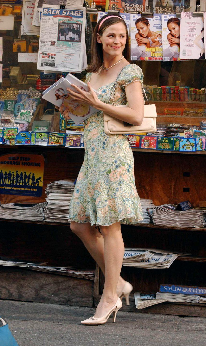 <p>When Jenna Rink becomes a 30-year-old overnight, she was most excited for her new high heel collection. She wears a pair in every scene, even with her nightgown. </p>