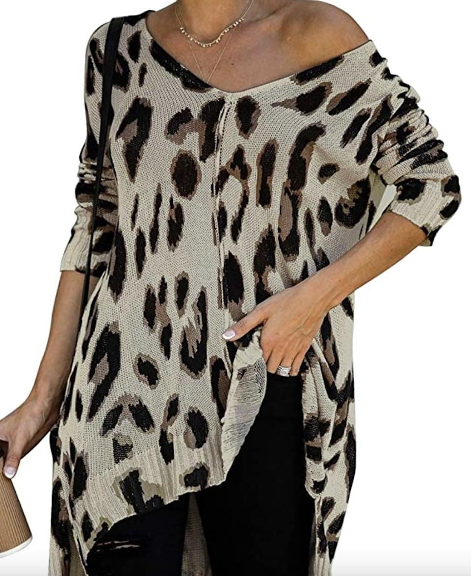 <p>If you love animal print, get this <span>Zkess Off-the-Shoulder Loose Knit Pullover Sweater</span> ($28).</p>