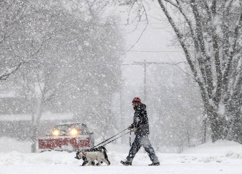 Steve Gordon of Madison, Wis., walks his dogs along Grandview Blvd. on the city's south side as a steady snowfall moves throughout the area Thursday, Dec. 20, 2012. The first major snowstorm of the season began its slow eastward march across the Midwest Thursday, creating treacherous, sometimes deadly driving conditions and threatening to disrupt some of the nation's busiest airports ahead of the holiday weekend. (AP Photo/Wisconsin State Journal, John Hart)