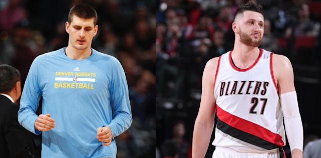 Nikola Jokic and Jusuf Nurkic represent a new age of big men. (AP/Getty Images)