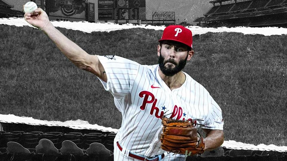 Jake Arrieta pitches for Phillies in front of black and white Citi Field TREATED ART