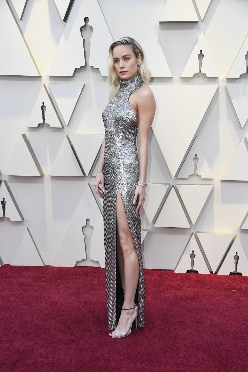 Brie Larson in Celine by Hedi Slimane and Chanel jewelry
