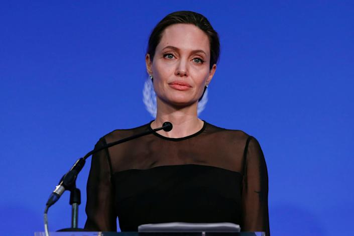 """&ldquo;I had a bad experience with Harvey Weinstein in my youth, and as a result, chose never to work with him again and warn others when they did,&rdquo; <a href=""""https://www.nytimes.com/2017/10/10/us/gwyneth-paltrow-angelina-jolie-harvey-weinstein.html"""" rel=""""nofollow noopener"""" target=""""_blank"""" data-ylk=""""slk:Angelina Jolie told the New York Times."""" class=""""link rapid-noclick-resp"""">Angelina Jolie told the New York Times.</a>&nbsp;&ldquo;This behavior towards women in any field, any country is unacceptable.&rdquo;"""