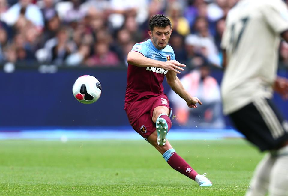 Aaron Cresswell of West Ham United scores his teams second goal. (Credit: Getty Images)
