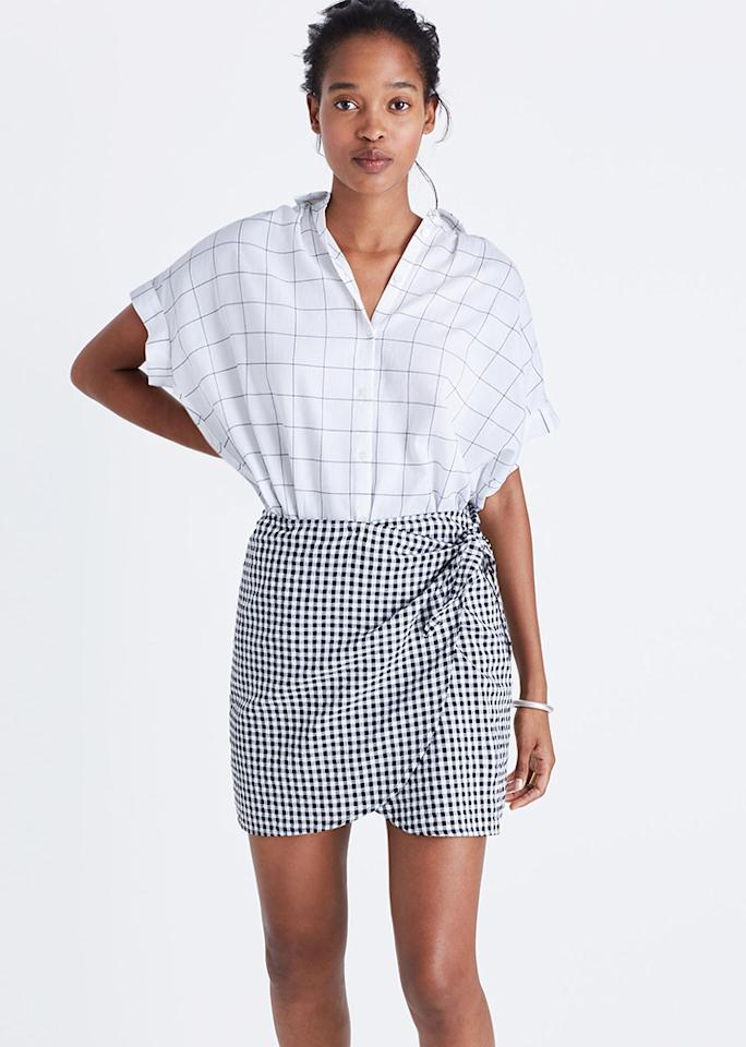 "Madewell Gingham Side-Tie Skirt, $69.50; at <a rel=""nofollow"" href=""https://www.madewell.com/p/women/skirts/mini/gingham-sidetie-skirt/G3462"" rel="""">Madewell</a>"
