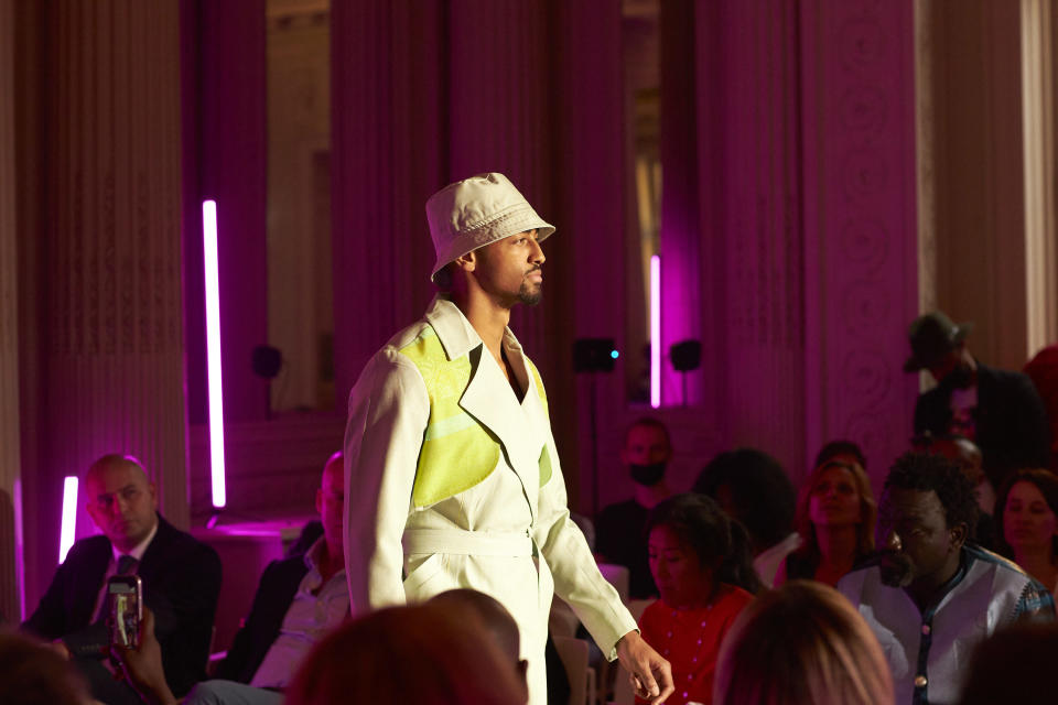 A look from Emmanuel Okoro's Emmy Kasbit collection at the Africa Fashion Up event in Paris. - Credit: Bruno Levy/Courtesy of Share Africa