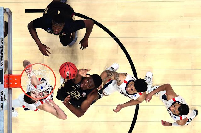<p>Mfiondu Kabengele #25 of the Florida State Seminoles shoots the ball against the Gonzaga Bulldogs during the 2019 NCAA Men's Basketball Tournament West Regional at Honda Center on March 28, 2019 in Anaheim, California. (Photo by Harry How/Getty Images) </p>