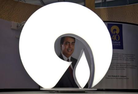 The logo of Reliance Industries is pictured in a stall at the Vibrant Gujarat Global Trade Show at Gandhinagar