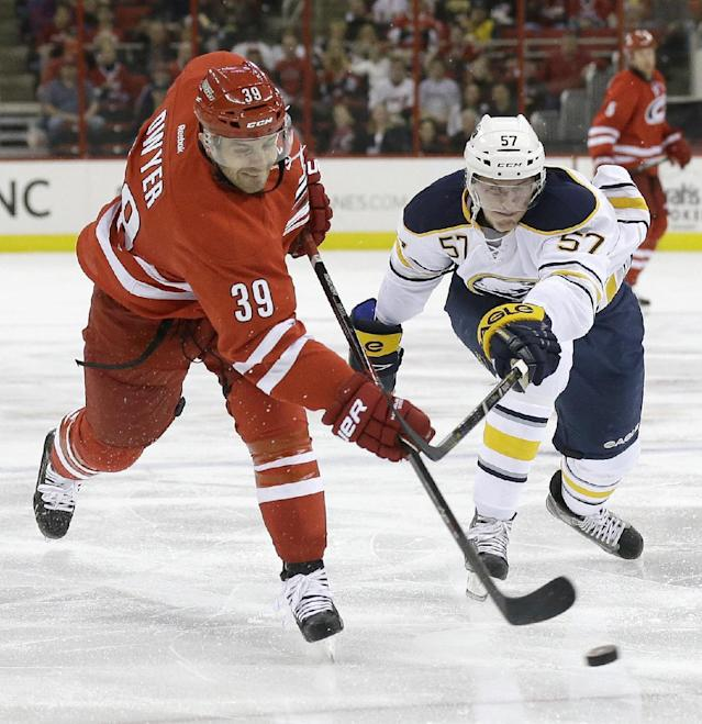 Carolina Hurricanes' Patrick Dwyer (39) shoots as Buffalo Sabres' Tyler Myers (57) defends during the second period of an NHL preseason hockey game on Friday, Sept. 27, 2013, in Raleigh, N.C. (AP Photo/Gerry Broome)