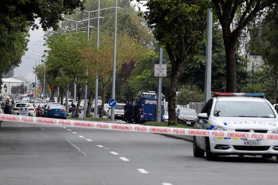 Police cordon off the area in front of the Masjid al Noor mosque after a shooting incident in Christchurch [Photo: Getty]