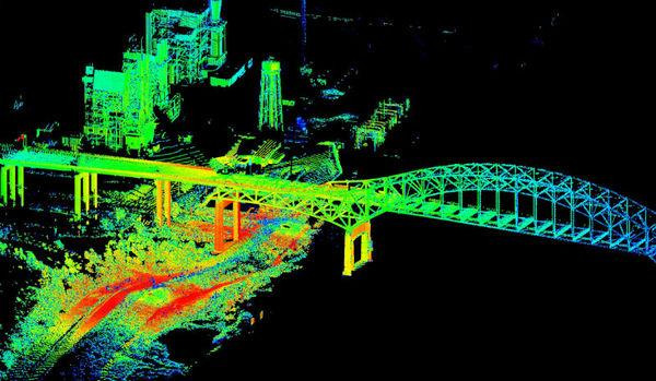 A lidar scan, taken from the ground, of New Orleans' I-510 bridge taken on Aug. 31, 2012.