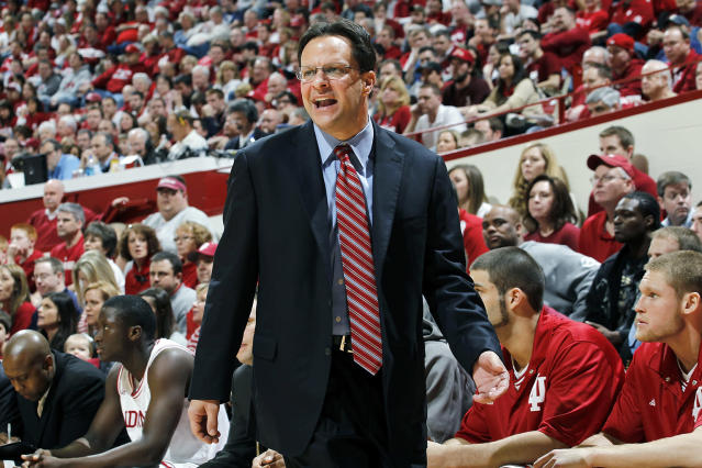 Indiana Hoosiers head coach Tom Crean looks on against the Northwestern Wildcats during a Big Ten Conference game at Assembly Hall on February 19, 2011 in Bloomington, Indiana. Northwestern defeated Indiana 70-64. (Photo by Joe Robbins/Getty Images)