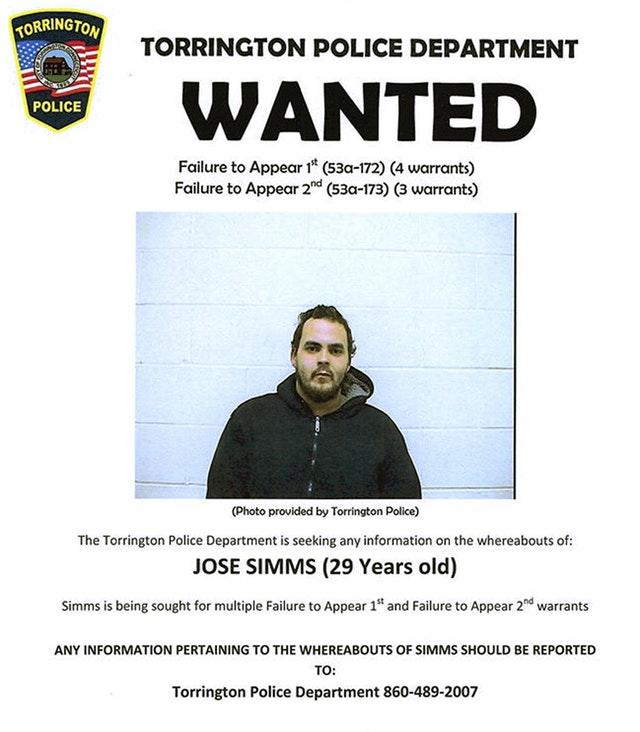 Wanted poster of Jose Simms