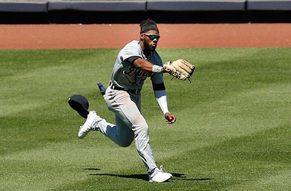 Detroit Tigers left fielder Akil Baddoo makes a running catch against the New York Yankees during the third inning at Yankee Stadium, May 1, 2021 in Bronx, New York.