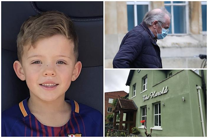 Harvey Tyrrell died after sitting on a pub garden light and prosecutors blame Colin Naylor. (PA/SWNS/Metropolitan Police)