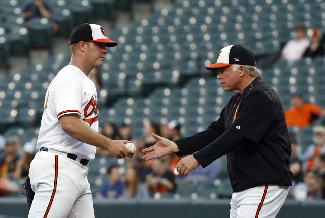 """ <a class=""link rapid-noclick-resp"" href=""/mlb/players/9125/"" data-ylk=""slk:Dylan Bundy"">Dylan Bundy</a> didn't have it against the Royals"" would be a bit of an understatement. (AP Photo)"