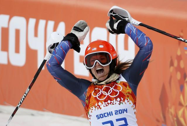 Julia Mancuso of the U.S. reacts in the finish area after competing in the slalom run of the women's alpine skiing super combined event during the 2014 Sochi Winter Olympics at th Rosa Khutor Alpine Center February 10, 2014. REUTERS/Leonhard Foeger (RUSSIA - Tags: OLYMPICS SPORT SKIING)