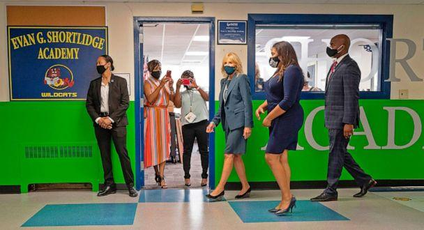 PHOTO: Teachers take photos from their classroom as Jill Biden, the wife of Democratic presidential candidate Joe Biden, tours Shortlidge Academy in Wilmington, Del., Sept. 1, 2020. (Jim Watson/AFP via Getty Images, FILE)