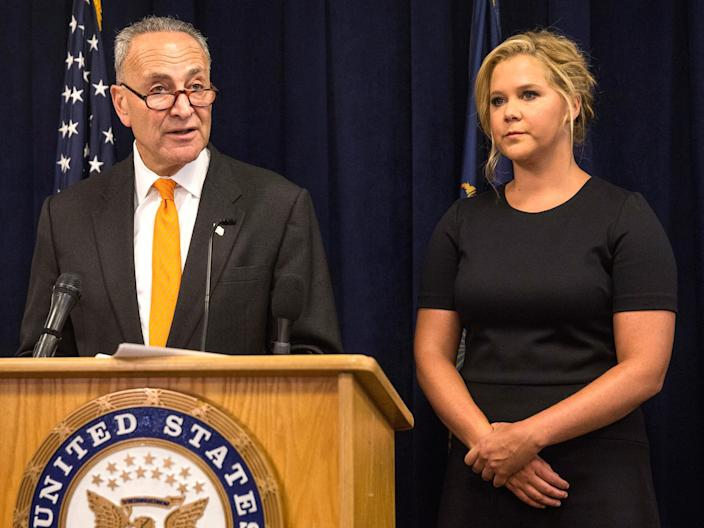 Sen. Chuck Schumer And Amy Schumer Hold Joint Press Conf. On Combating Gun Violence Getty Images