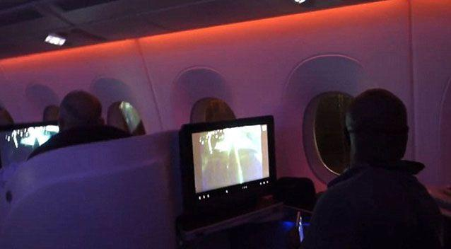 Terrified passengers were captured on the footage peering out the plane windows. Source: Supplied.