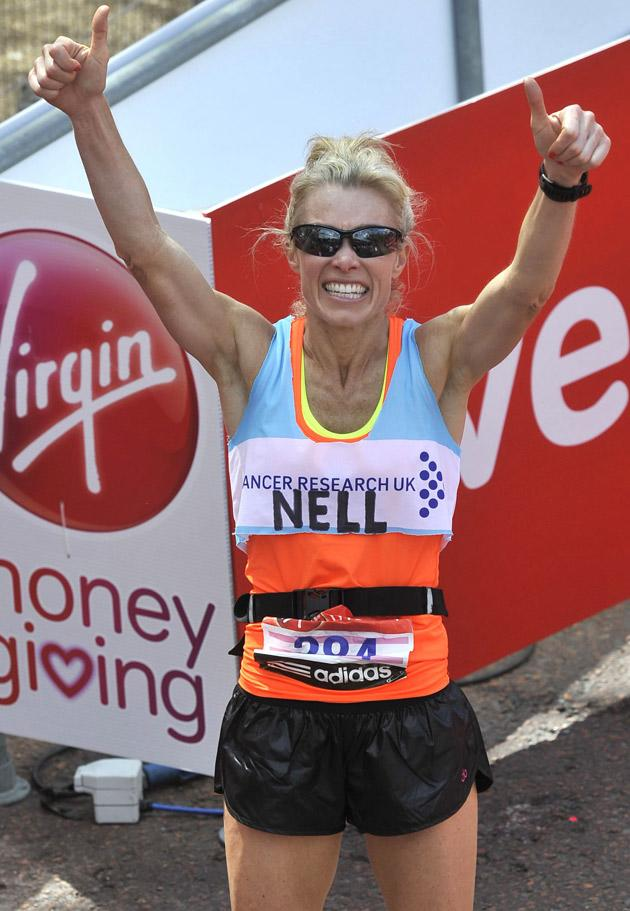 London Marathon 2012:Model Nell McAndrew reaches the finish line