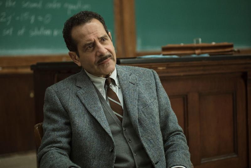 Shalhoub as the frequently-pained Abe Weissman in The Marvelous Mrs. Maisel.