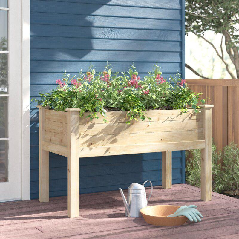 """<p><strong>Sol 72 Outdoor</strong></p><p>wayfair.com</p><p><strong>$189.90</strong></p><p><a href=""""https://go.redirectingat.com?id=74968X1596630&url=https%3A%2F%2Fwww.wayfair.com%2Foutdoor%2Fpdp%2Fsol-72-outdoor-elick-wood-elevated-planter-w001411946.html&sref=https%3A%2F%2Fwww.bestproducts.com%2Fhome%2Foutdoor%2Fg1366%2Fraised-garden-beds-boxes%2F"""" rel=""""nofollow noopener"""" target=""""_blank"""" data-ylk=""""slk:Shop Now"""" class=""""link rapid-noclick-resp"""">Shop Now</a></p><p>For those who'd prefer not to get on their hands and knees to tend to their blooms, this generously sized raised planter box takes your gardening to new heights. </p><p>Multiple plants can thrive within this cedar standing bed. It is assembled to allow for drainage and airflow so that the roots don't become saturated with moisture — although some reviewers note that they drill extra holes into the wood.</p>"""