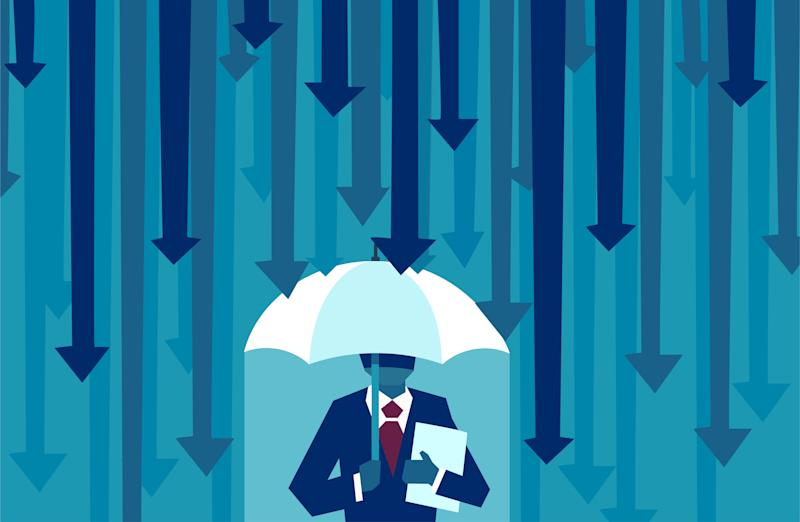 Vector of a businessman with umbrella resisting protecting himself from falling arrows