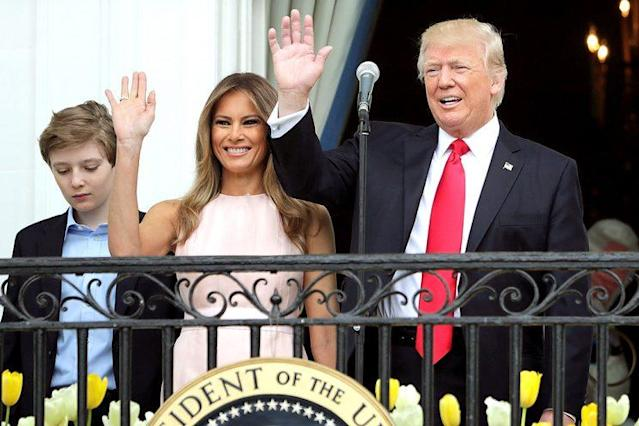 President Trump and first lady Melania Trump attend the Easter Egg Roll at the White House. (Photo: Chip Somodevilla/Getty Images)