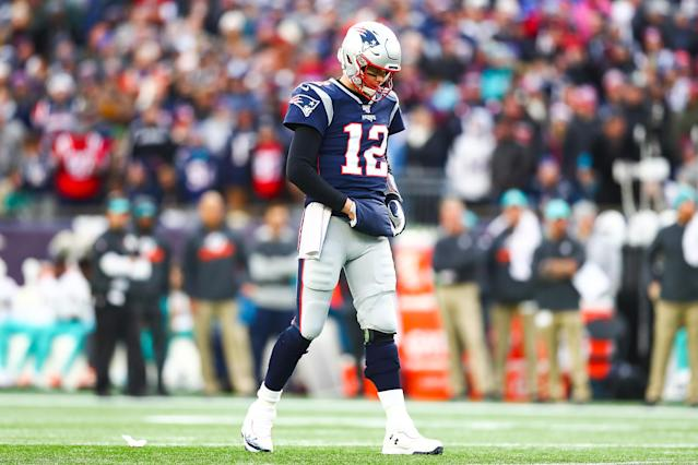 Sleepless night: Tom Brady said he tossed and turned Sunday night after the Patriots' loss to the Dolphins. (Adam Glanzman/Getty Images)