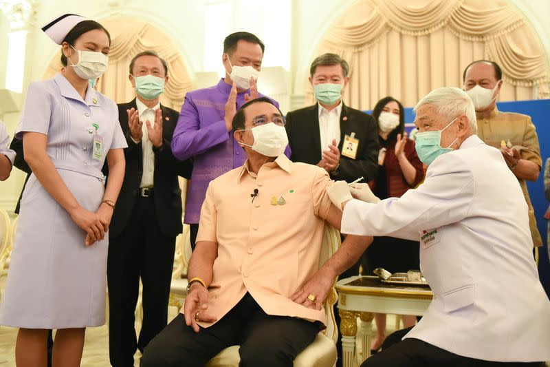 Thailand's cabinet receive injections of the AstraZeneca vaccine