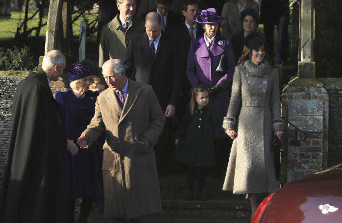 The royals at the a Christmas day service at the St Mary Magdalene Church in Sandringham. There was no sign of Prince Andrew. (AP Photo/Jon Super)