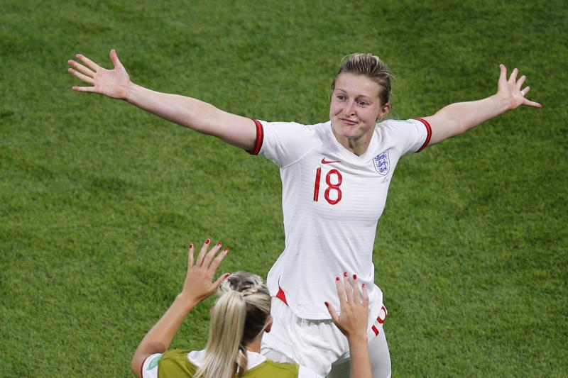 England's Ellen White celebrates after scoring her side's first goal during the Women's World Cup semifinal soccer match between England and the United States, at the Stade de Lyon outside Lyon, France, Tuesday, July 2, 2019. (AP Photo/Francois Mori)