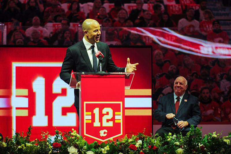 CALGARY, AB - MARCH 2: Jarome Iginla speaks to the crowd during the night his number twelve jersey will be retired prior to an NHL game against the Minnesota Wild at Scotiabank Saddledome on March 2, 2019 in Calgary, Alberta, Canada. (Photo by Derek Leung/Getty Images)