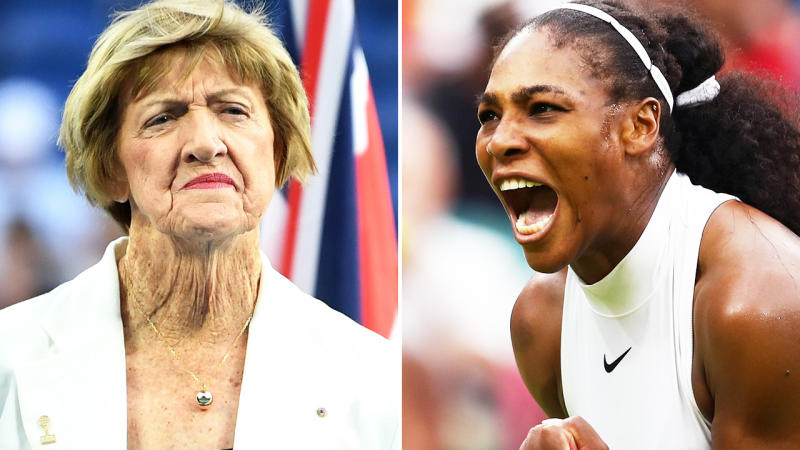 Serena Williams (pictured right) celebrating a point an Margaret Court (pictured left) at a ceremony.