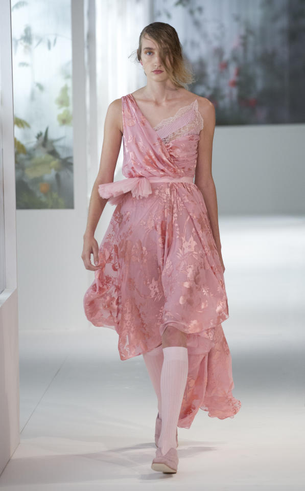 <p>Another season, another excuse to wear pink. But forget the millennial hue, as the SS18 shows have demonstrated how to wear pink in all its glory. Over at Preen, models stepped out in blush pink dresses with knee-high twee socks to match. <em>[Photo: PA]</em> </p>
