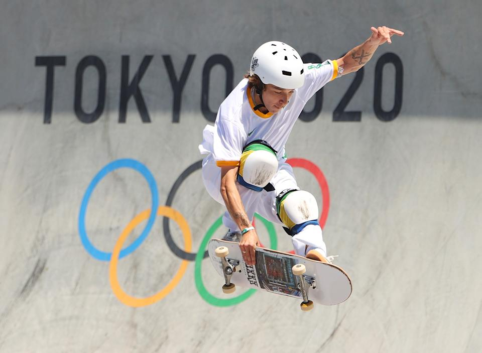 TOKYO, JAPAN - AUGUST 05: Luiz Francisco of Team Brazil during the Men's Skateboarding Park Preliminary Heat 3 on day thirteen of the Tokyo 2020 Olympic Games at Ariake Urban Sports Park on August 05, 2021 in Tokyo, Japan. (Photo by Ezra Shaw/Getty Images)