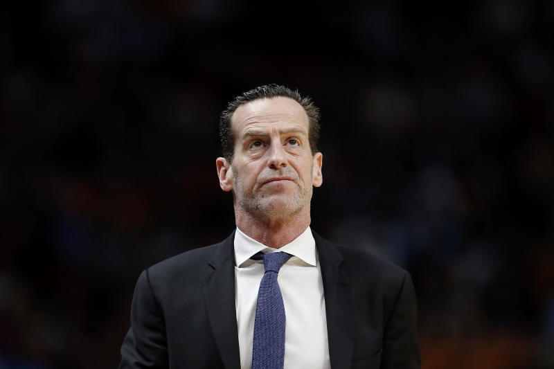 MIAMI, FLORIDA - FEBRUARY 29: Head coach Kenny Atkinson of the Brooklyn Nets reacts against the Miami Heat during the second half at American Airlines Arena on February 29, 2020 in Miami, Florida. NOTE TO USER: User expressly acknowledges and agrees that, by downloading and/or using this photograph, user is consenting to the terms and conditions of the Getty Images License Agreement. (Photo by Michael Reaves/Getty Images)