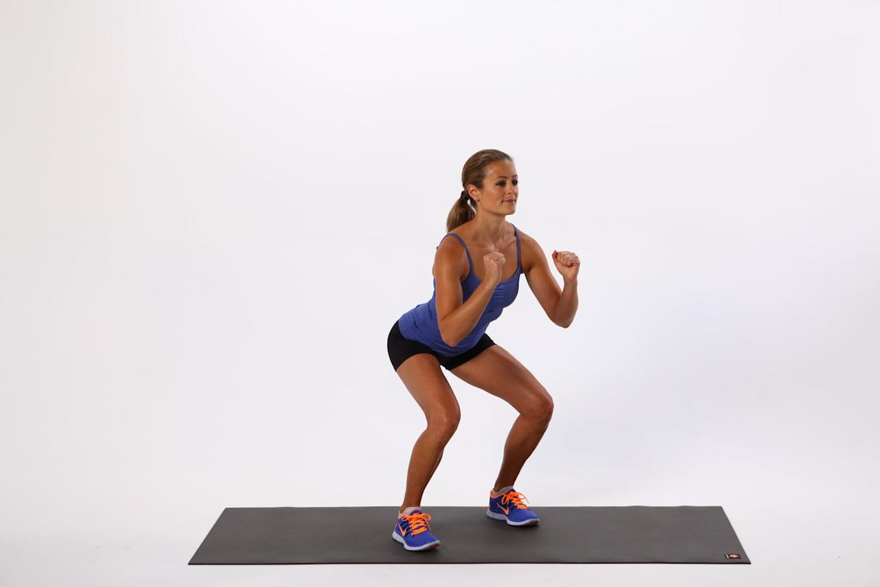 <ul> <li>Begin standing with your feet directly underneath your hips, and squat about halfway down. </li> <li>Take a step sideways to the right about six inches. Be sure to step onto your heel, rather than your toes.</li> <li>Bring your left leg slowly toward your right, returning to the starting position.</li> <li>Repeat starting with your left foot and going in the opposite direction. This counts as one rep.</li> <li>Repeat for one minute.</li> </ul>