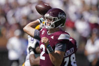 Mississippi State quarterback Will Rogers (2) passes against LSU during the first half of an NCAA college football game, Saturday, Sept. 25, 2021, in Starkville, Miss. (AP Photo/Rogelio V. Solis)